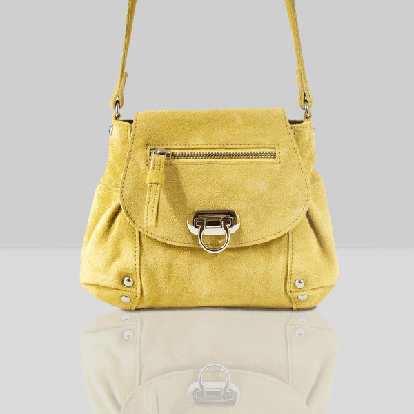 'CHESTER' Yellow Suede Leather Mini Crossbody Bag