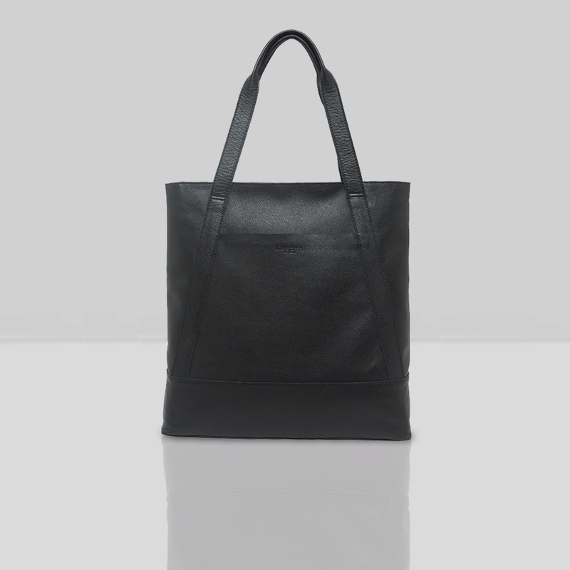 'Barbara' Black Soft Unlined Leather Tote Bag