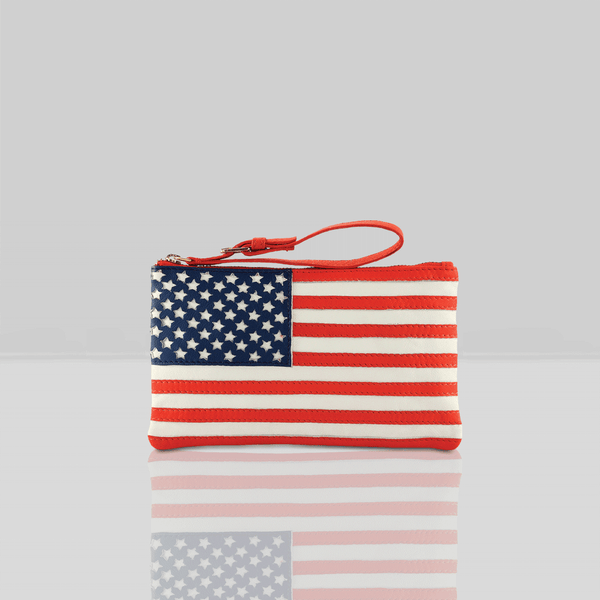 'UNITED STATES' Country Flag Designer Leather Wristlet