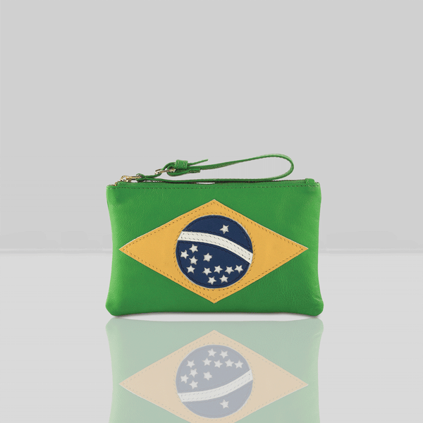 'BRAZILIAN' Country Flag Designer Leather Wristlet