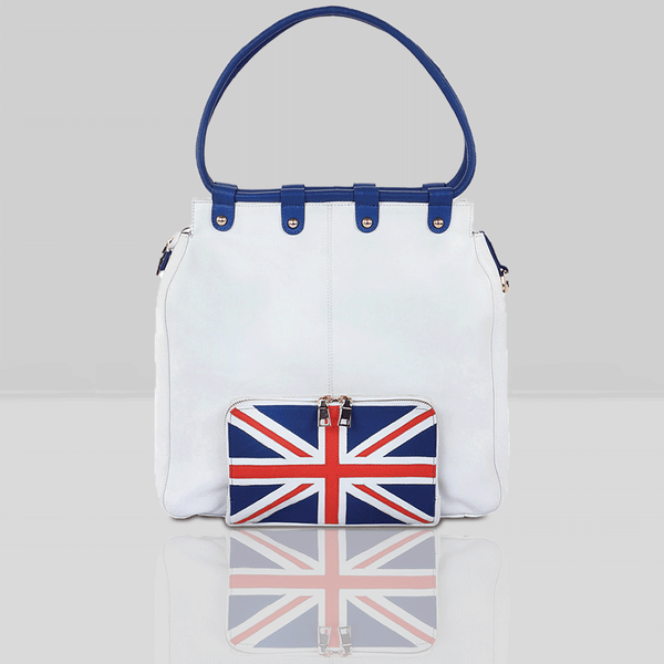 'PARADISE' - Union Jack Designer Leather Large Shopper Bag