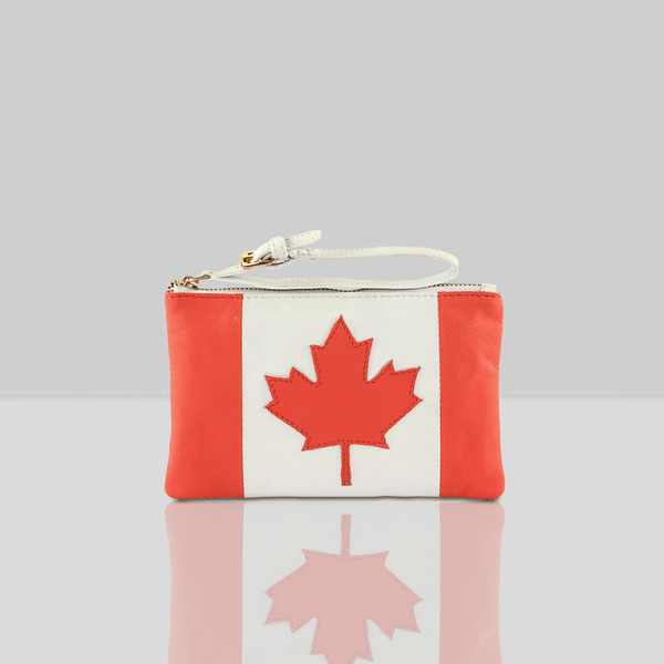 'CANADIAN' Country Flag Designer Leather Wristlet