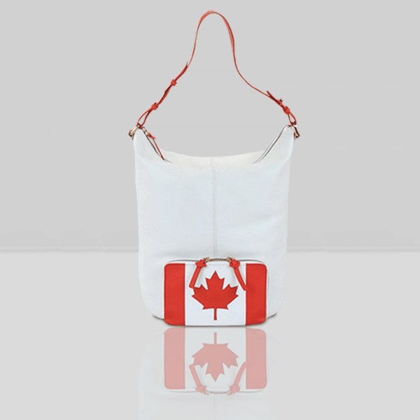 White Canadian Flag Real Leather Laptop Tote Bag with Zipper