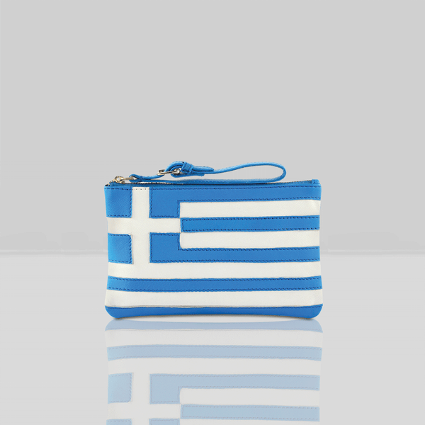 'GREEK' Country Flag Designer Leather Wristlet