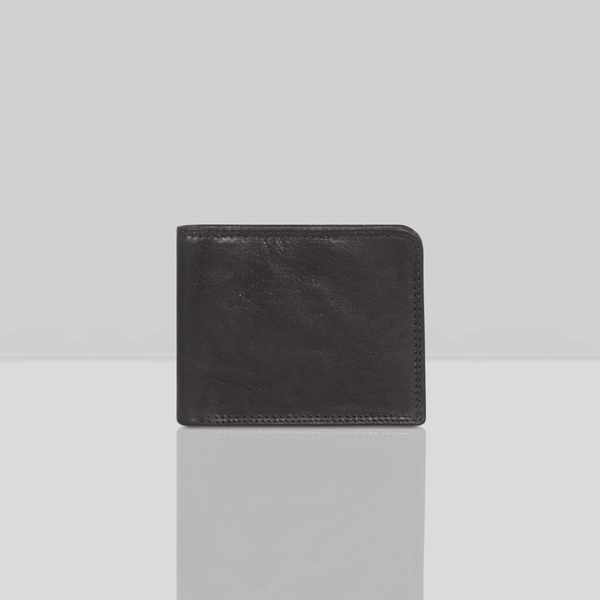 'DOUGLAS' - Black Trifold Vintage Leather RFID Blocking Wallet
