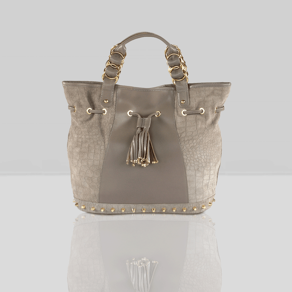 'WINDEMERE' - Grey Designer Crocodile Printed Suede Leather Tote Bag