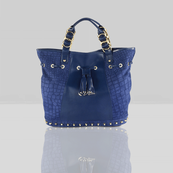 'WINDEMERE' - Navy Designer Crocodile Printed Suede Leather Tote Bag