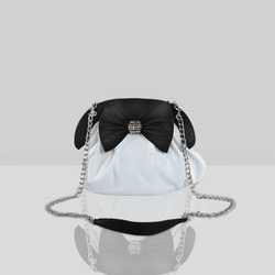 'WOODFORD' White Designer Leather Studded Bow Crossbody Bag