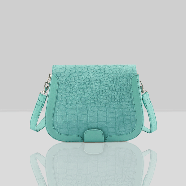 'BENAVILLE' Turquoise Croc Real Leather Crossbody Bag