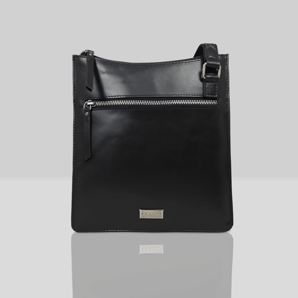 'WILLOW' - Black Smooth Leather Crossbody Bag