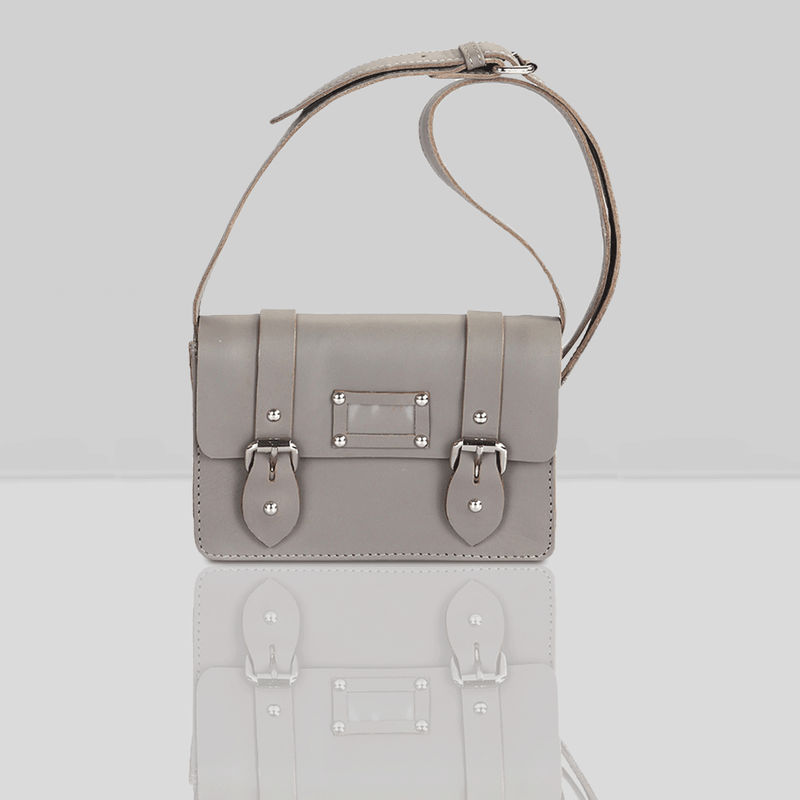 'CLARA' - Mini Grey Designer Leather Flap-over Satchel Bag