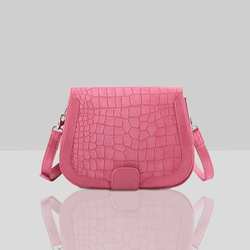 'BENAVILLE' Pink Croc Real Leather Crossbody Bag