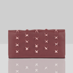 'STARK' Burgundy Trifold Full grain leather Star Slit Purse