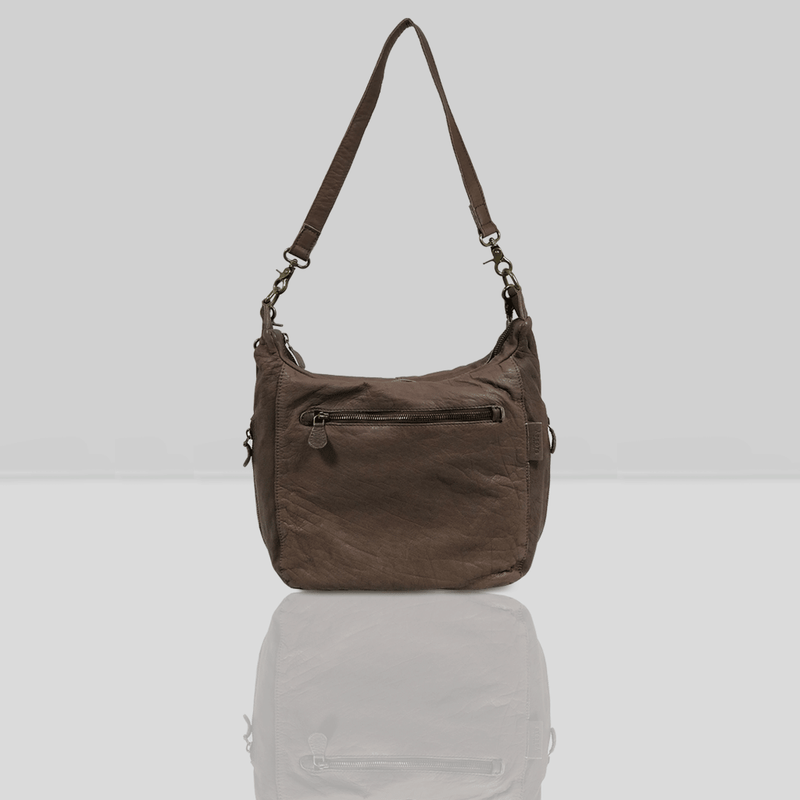 'JAMES' Dark Brown Vintage Leather Shoulder Bag