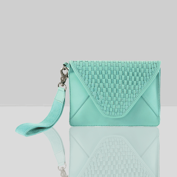 'CRESCENT' Turquoise Leather Flap-over Woven Clutch Bag