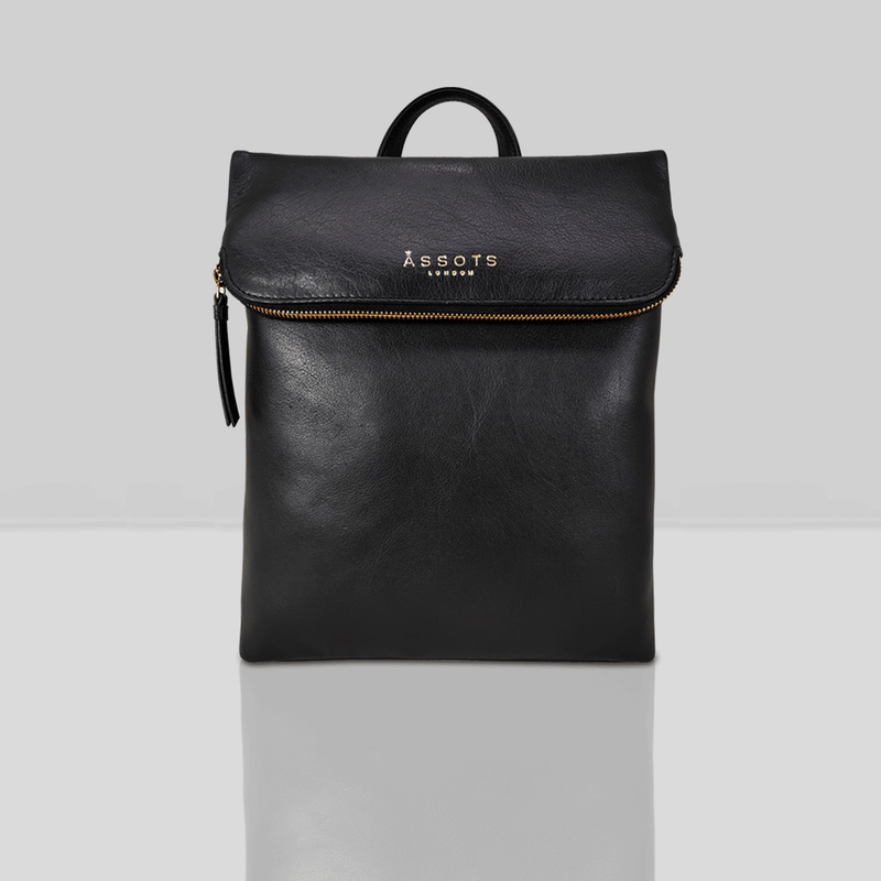 'MERLIN' Black Full Grain Leather Zip Around Flap-over Backpack