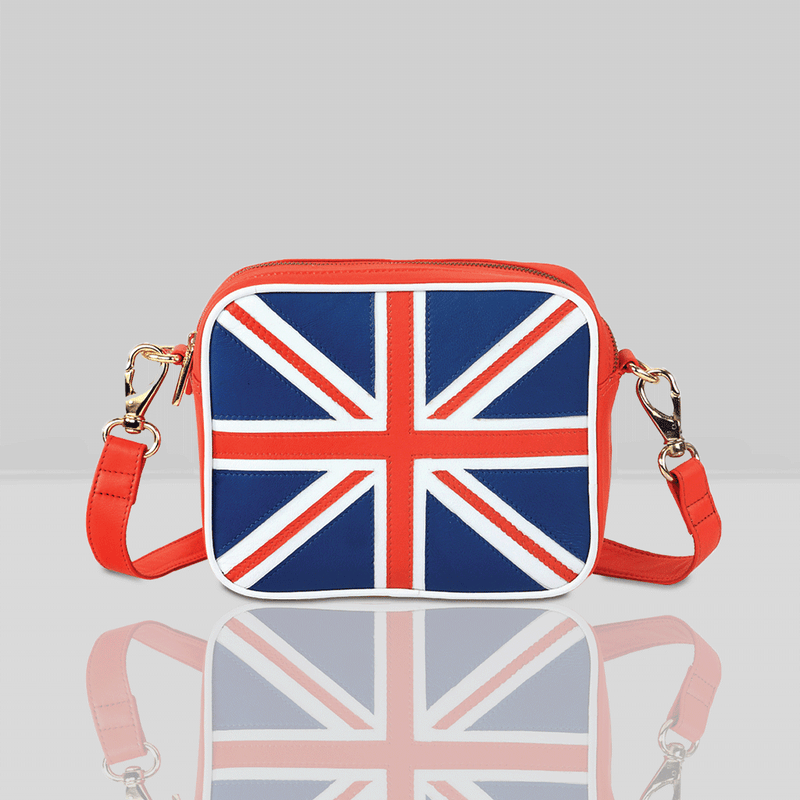 'CROSS' Union Jack Designer Leather Crossbody Flight Bag