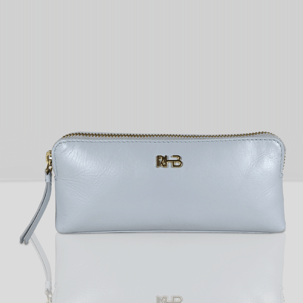 'EMILY' - Small Pearl Blue Leather Toiletry Makeup Cosmetic Bag