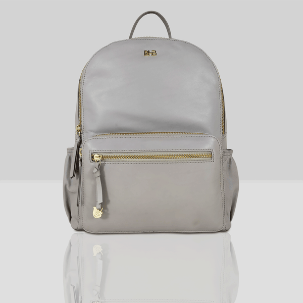 'ISABELLA' - Grey Lightweight Luxurious Baby Changing/Diaper Leather Backpack