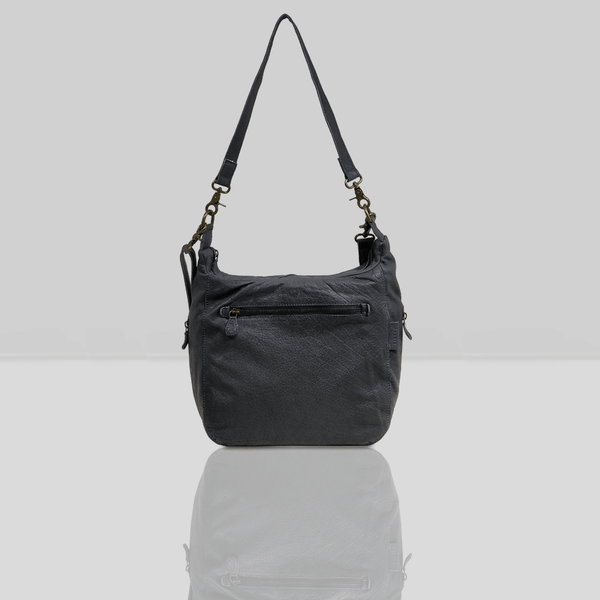 'JAMES' Navy Vintage Leather Shoulder Bag