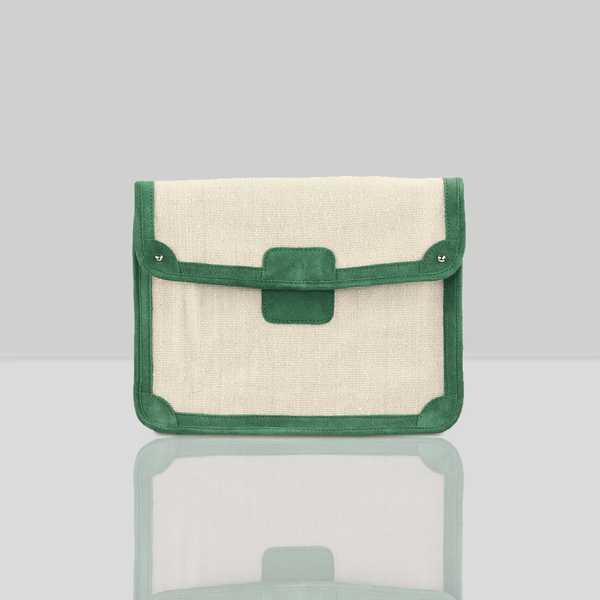 'SAVILE' Green Suede Leather Trims Canvas Flap-over Portfolio Bag