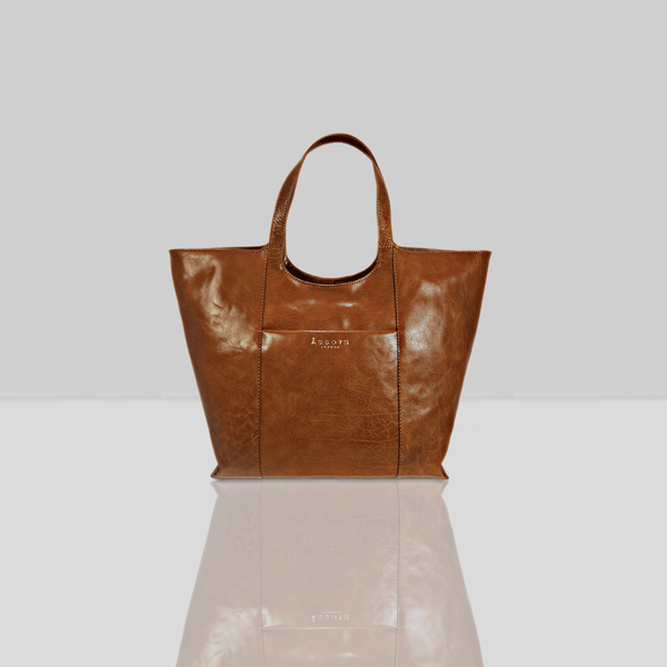 'REGENT' Tan Vintage Vegetable tanned Leather Tote Bag