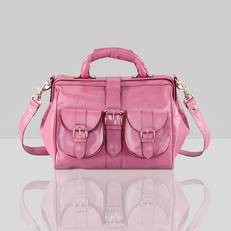 'BARBICAN' Pink Leather Tab-over Bowling Bag