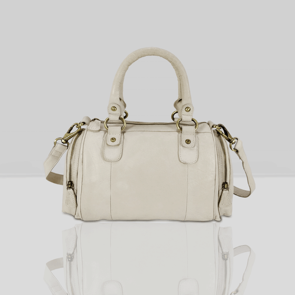 'KRISTEN' Nude Vintage Leather Bowling Bag
