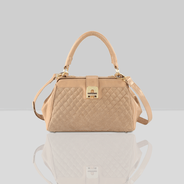 'ROSIE' Nude Designer Quilted Leather Suede Tab-over Bowling Bag