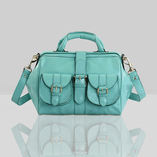 'BARBICAN' Turquoise Leather Tab-over Bowling Bag