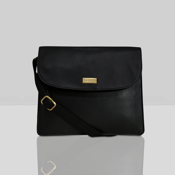 'OSLO' Black Pebble Grain Leather Crossbody Bag