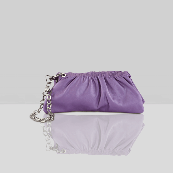 'SCARLETT'- Purple Designer Leather Wristlet Clutch Bag
