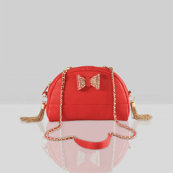 'MARYLAND' Red Designer Leather Half Moon Crossbody Bag
