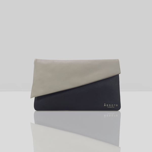 'SLOANE' - Black Designer Leather Flap-over Clutch Bag