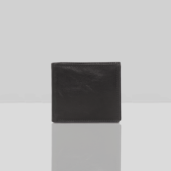 'BENNETT' Black Bifold Vintage Leather RFID Blocking Wallet