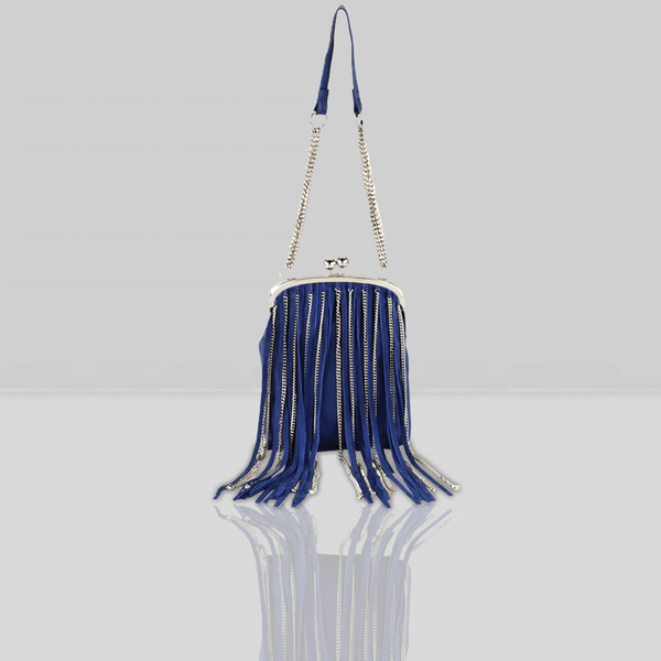 'CHINGFORD' Navy Designer Leather Fringed Crossbody Bag