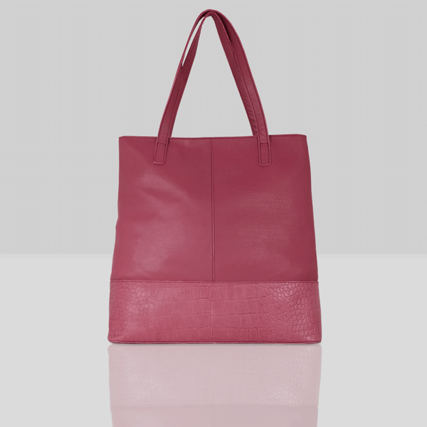 'SIENNA' - Carmine Pink Semi Soft Unlined Leather Tote Bag