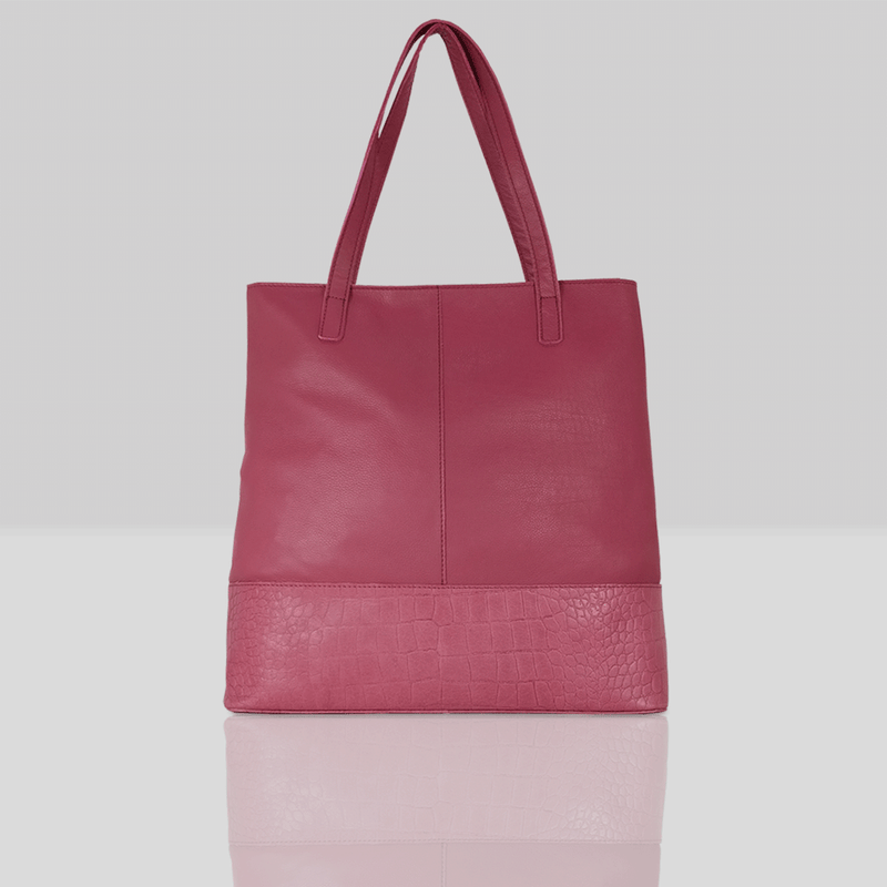 'SIENNA' Carmine Pink Semi Soft Unlined Leather Tote Bag
