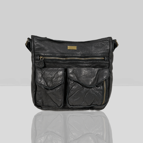 'WYNDRELL' Black Washed Vintage Leather Shoulder Bag