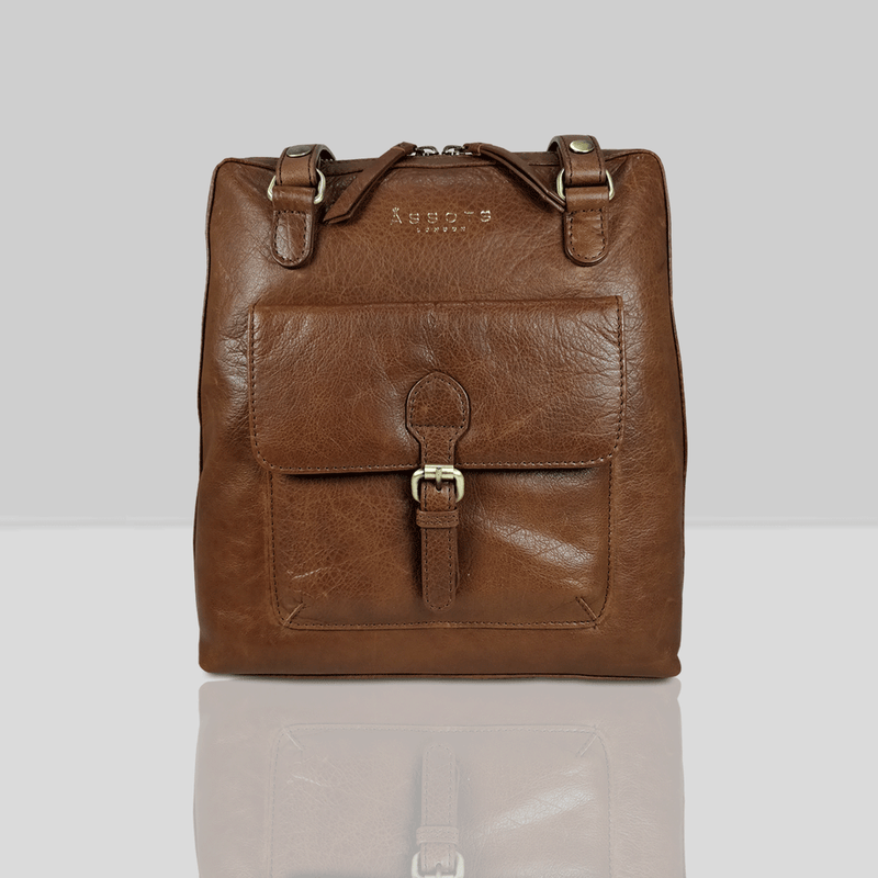 'BRENT' Tan Vintage Leather Zip Around Backpack