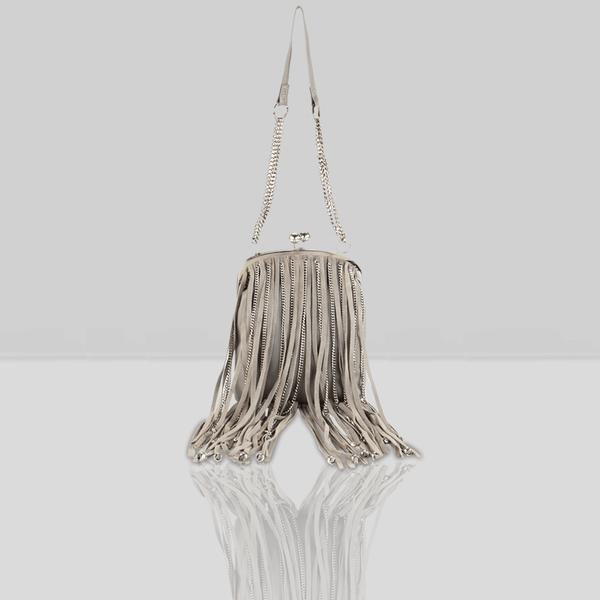 'CHINGFORD' Grey Designer Leather Fringed Crossbody Bag