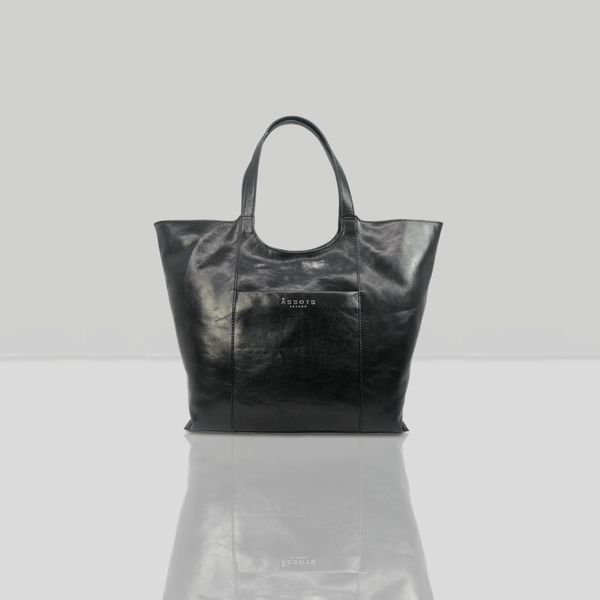 'REGENT' Black Vintage Vegetable tanned Leather Tote Bag