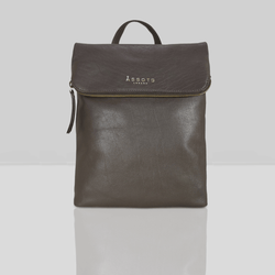 'MERLIN' Mokka Brown Full Grain Leather Zip Around Flap-over Backpack