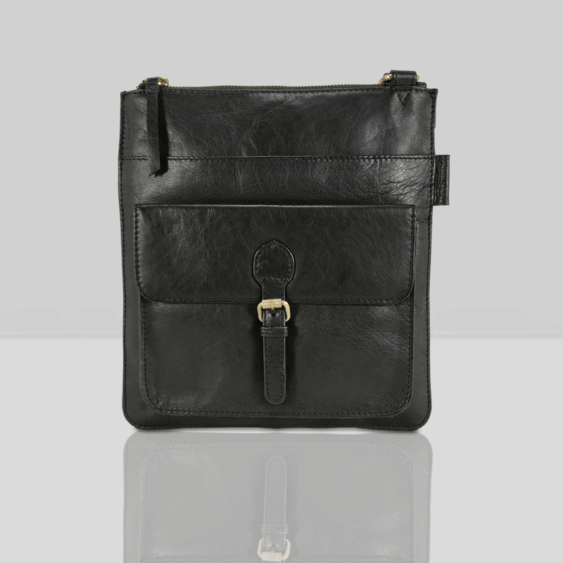 'KENTON' Black Vintage Leather Crossbody Bag