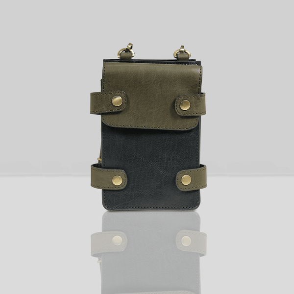 'SPADE' - Black & Olive Vintage Leather Bifold Mini Travel Crossbody bag