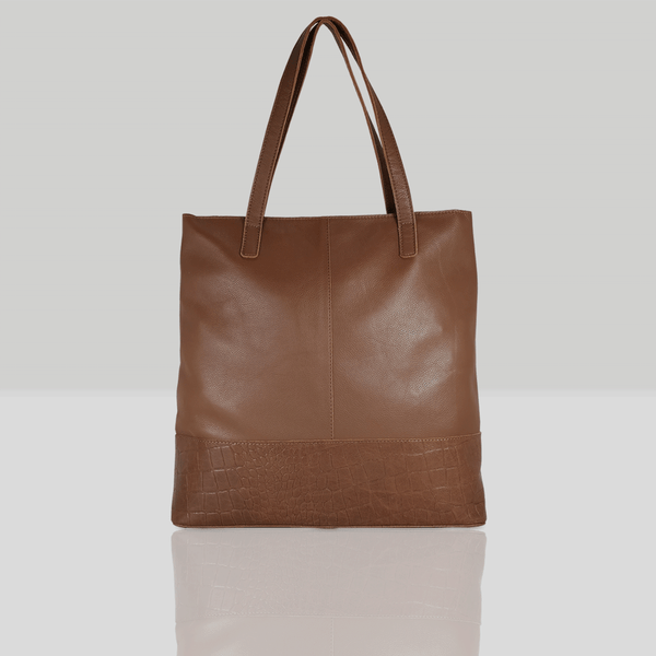 'SIENNA' - Tan Semi Soft Unlined Leather Tote Bag
