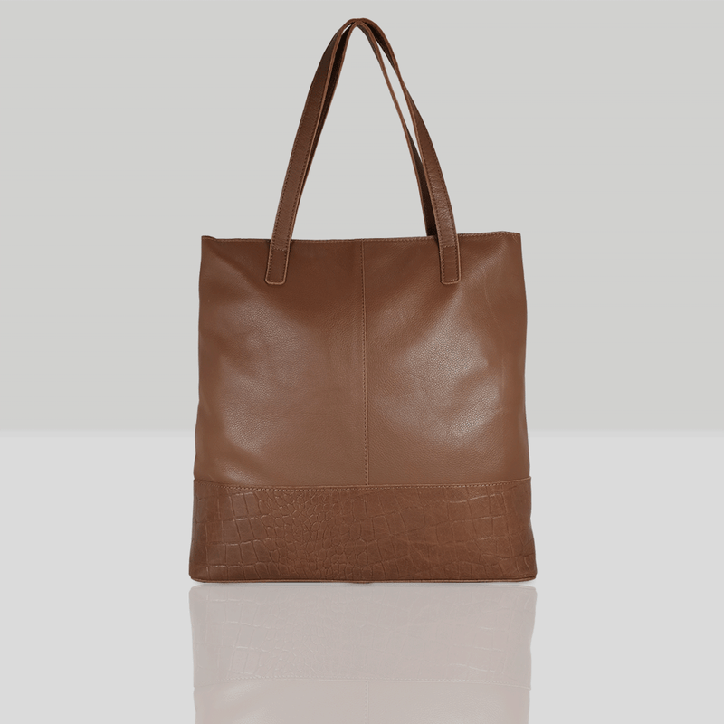 'SIENNA' Tan Semi Soft Unlined Leather Tote Bag