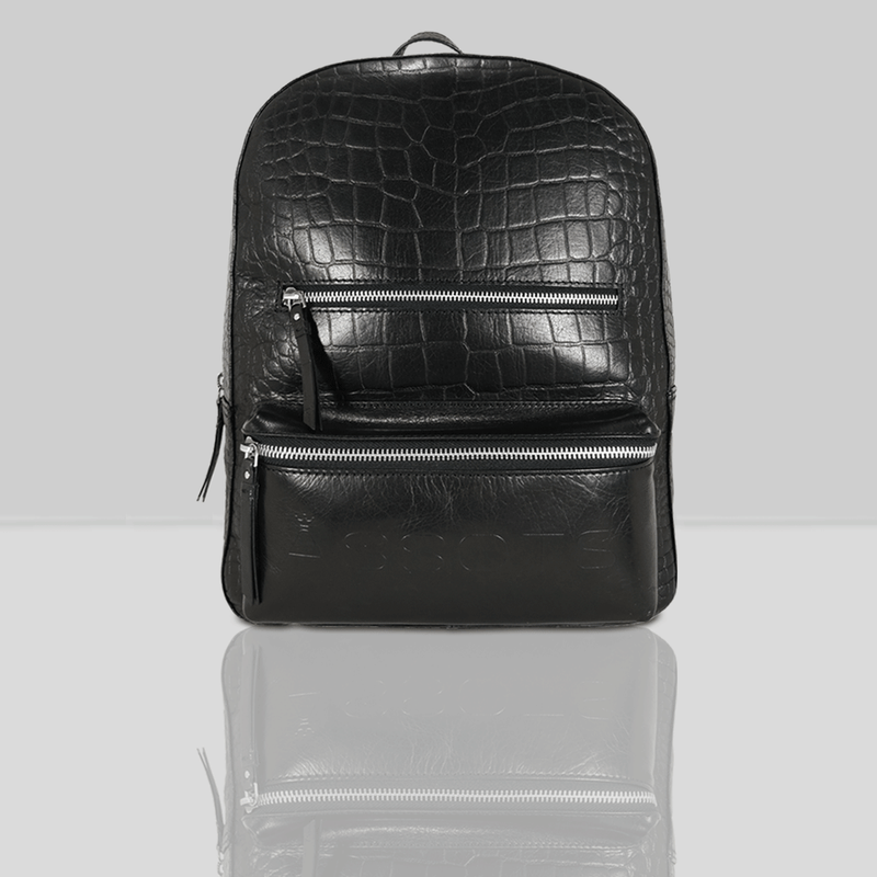 'OSCAR' - Black Full Grain Croc Leather Laptop Backpack