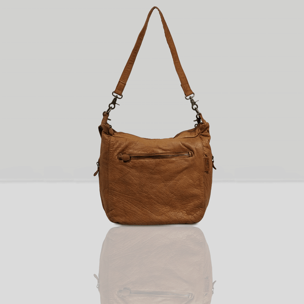 'JAMES' Cognac Vintage Leather Shoulder Bag