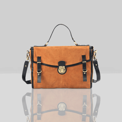 'QUINTON' - Tan Designer Leather Suede Tab-over Satchel Bag